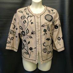 Scott Taylor BLAZER Jacket sz 1x Silk Blend Embroidery Tan + Black