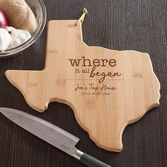 TEXAS Made of premium quality bamboo a renewable resource Bamboo is harder and denser than most woods No artificial stains or dyes used and finely sanded for a smooth surface Cutting boards are designed in the shape of the state Approximate size: x 13 x Diy Cutting Board, Custom Cutting Boards, Engraved Cutting Board, Personalized Cutting Board, Bamboo Cutting Board, Engraved Gifts, Personalized Wedding Gifts, Unique Housewarming Gifts, Just Because Gifts