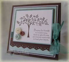 Stamps:  Thoughts and Prayers; Paper:   Chocolate Chip, Baja Breeze, PTI White, Parisian Breeze DSP; Ink:  Chocolate Chip; Accessories & Tools:  May Arts Ribbon, Buttons, Eyelet Border Punch, Dimensionals