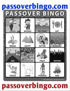 Passover bingo board