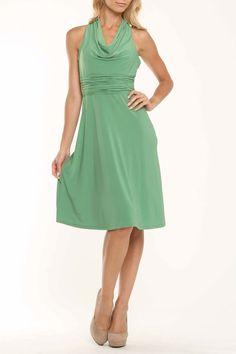 Evan Picone Cowl Neck Dress In Green Goddess - Beyond the Rack