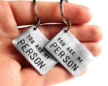 Valentines Day - Friendship Keychain Set of 2 - You Are My Person - Hand Stamped Custom Aluminum by Rustic Brand