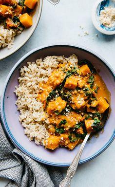 Delicious Vegan Butternut Squash Curry Recipe - ready in 45 minutes! Delicious Vegan Butternut Squash Curry Recipe - ready in 45 minutes! Curry Recipes, Veggie Recipes, Indian Food Recipes, Whole Food Recipes, Vegetarian Recipes, Cooking Recipes, Healthy Recipes, Dinner Recipes, Delicious Healthy Food
