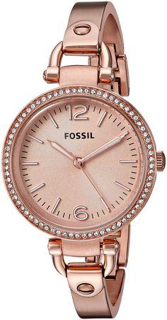 0b3e69f1a557d Fossil Women s ES3226 Georgia Glitz Three Hand Stainless Steel Watch - Rose  Gold-Tone