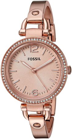 Fossil Women's ES3226 Georgia Glitz Three Hand Stainless Steel Watch - Rose Gold-Tone ** You can find out more details at the link of the image.