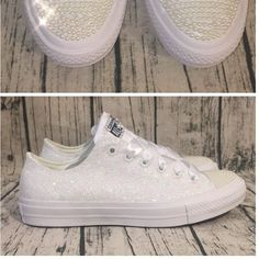 0e745abdedff Women s Sparkly White or Ivory Glitter Converse All Stars pearls Bride  Wedding shoes