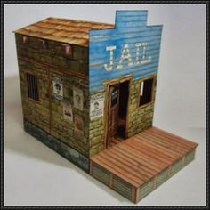 Old West Sheriff Office Free Building Paper Model Download - http://www.papercraftsquare.com/old-west-sheriff-office-free-building-paper-model-download.html