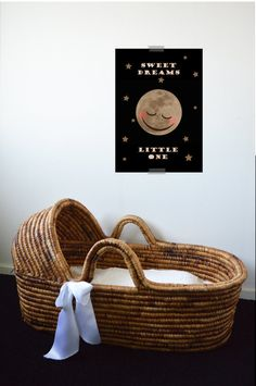 SLEEPING MOON PRINTABLE POSTER for Kids Room or Nursery - Sweet Dreams Little One. More Colourful Kids Room or Nursery Wall Art please visit  LetuvePosters on Etsy.