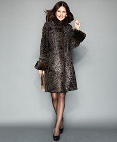 The Fur Vault Mink-Fur-Trimmed Persian Lamb Coat