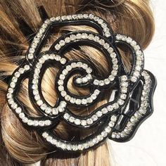 Flower Hair Clip Black Hair Claw Clip Crystal Hair Clip Claw Wedding Hair Clip Diamante Hair Grip Rhinestone Hairclip Hair Accessory Hair Jewelry >>> To view further for this item, visit the image link. (Amazon affiliate link)