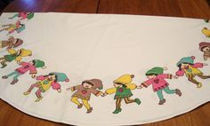 Vintage Christmas Round Tablecloth with Elves 48.5 Inches