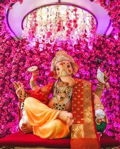 Ganesh Chaturthi Decoration, Ganesh Chaturthi Images, Happy Ganesh Chaturthi, Shri Ganesh Images, Ganesha Pictures, Lord Shiva Pics, Lord Shiva Family, Ganesh Idol, Ganesha Art