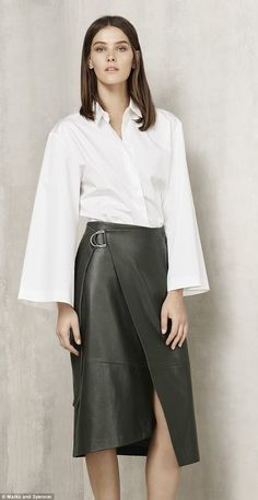 A kimono-sleeved shirt, £29.50, and bottle-green leather skirt, £199, both Autograph, cut a stylish figure in the lookbook unveiled yesterday
