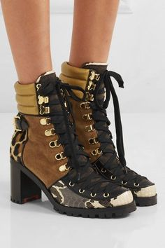 Christian Louboutin - Who Runs Suede, Elaphe, Metallic Leather And Calf Hair Ankle Boots - Black - IT