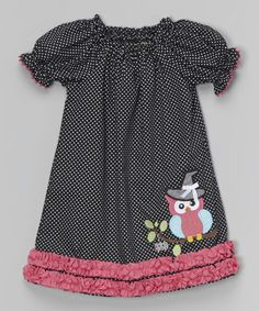 Look what I found on #zulily! Black Halloween Owl Puff-Sleeve Dress - Infant & Girls by Stellybelly #zulilyfinds