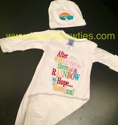 Rainbow of hope baby gown and cap set by Beccasbowsonline on Etsy