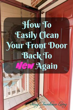 How To Easily Clean Your Front Door Back To New Again - Sassy Townhouse Living Whenever I discovered a new cleaning tip I have to share it with you! Does your front and screen door get all grimy with pollen, dust, and debris? With the onset of Spring, it's so easy to have your outside doors easily build up with nasty dirt and pollen. I discovered an easy way to clean your front door and your screen door back to new again! #CleaningHacks #WD40 #FrontDoor #ScreenDoor