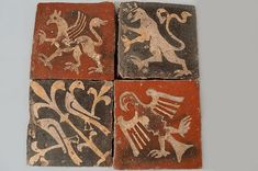 12th -14th C.  large and impressive collection of Medieval Encaustic Tiles...Inlaid designs from the original Medieval Church, St. Audries, Quantoxhead [these are thick tiles from the Orig.church floor]