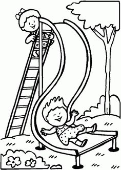 Playground slide - Free Printable Coloring Pages