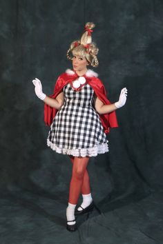 This is for a ADULT Cindy Lou who Costume  (See other listings for child sizes)      With purchase you will receive 1) Black and White large