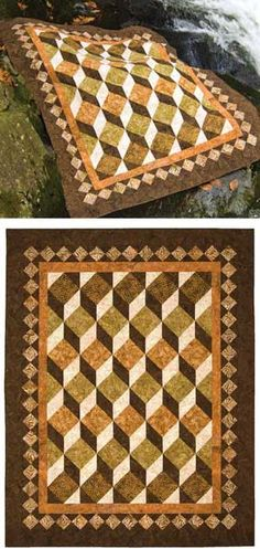 Shadowplay Quilt.  uses two blocks, square in a square and a flying geese block.  super easy.  Plum Tree Quilt pattern