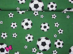 Stoff retro - Fußballstoff Baumwolle mit Bällen Grün  - ein Designerstück von naehzauberei-stoffe bei DaWanda