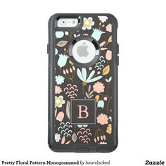 Pretty pastels floral monogrammed iPhone 6 OtterBox case, or choose your device