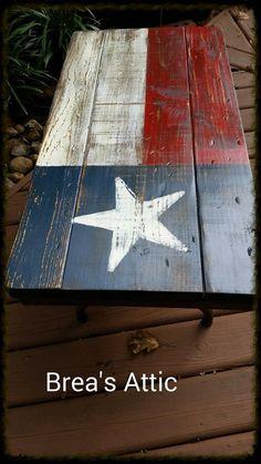 Texas Flag Coffee Table on a vintage folding table