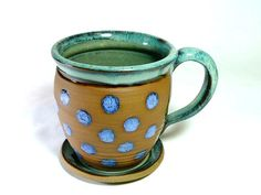 CUP AND SAUCER Mug Pottery Stoneware cup by CleverClay on Etsy