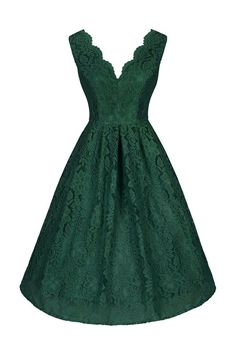 Emerald Green Embroidered Lace Swing Dress