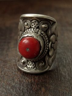 Antique Tibetan Silver Saddle Ring with Lotus Flower Design & Coral Inlay