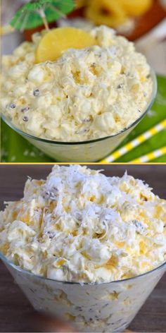 Need something quick and easy for your next summer get-together, potluck, or picnic? Pina Colada Fluff must be on your menu! It will only take you 2 short minutes to pull together this recipe. Filled with tropical flavors, this dessert salad will brighten up your day! Jello Recipes, Fruit Salad Recipes, Appetizer Recipes, Easy Potluck Recipes, Creamy Fruit Salads, Jello Salads, Easy Meals, Healthy Recipes, Fluff Desserts