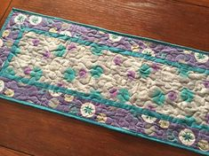 Modern Table Runner Gray Teal Purple Quilted Table Runner