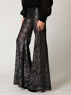 metallic lace bell bottoms- free people