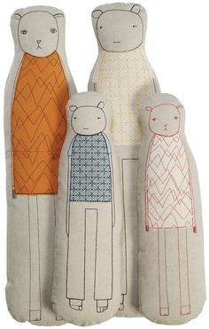 Can imagine letting kids draw on fabric then sewing into stuffed figures.