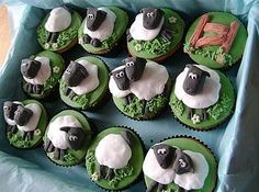 12 Sheep Cupcakes  by the small cake shop  £35