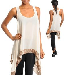White Lotus  - Winter white A-symetrical golden trimmed shirt, $38.00 (http://www.whitelotusboutique.net/winter-white-a-symetrical-golden-trimmed-shirt/)