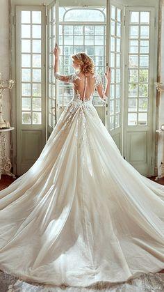 nicole spose bridal 2017 3 quarter sleeves v neck sheath wedding dress overskirt train (niab17076) bv