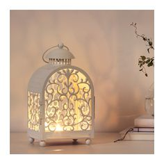 GOTTGÖRA Lantern for candle in metal cup, indoor/outdoor white
