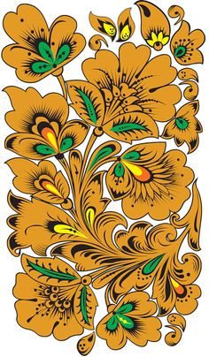 Folk Khokhloma painting from Russia. Floral pattern. #art #folk #painting #Russian