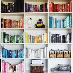 "@RedAgape's photo: ""All finished tweaking these colour coded nooks! #riplanetpeoplehome @recycled_interiors #books #booklover #colourcodedbooks #epicbookshelf #organised #ocd #tidy #shelves #bookshelves #booksmakeahome #decor #interiors #hbmystyle @Home Beautiful magazine"""