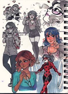 some inktober tribute doodles while my tablet was outta commission for a couple days there lol. now let's see here… - alya and marinette outfits based on cosplay by @an0riel and @chikara_chan on...