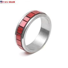 USA 5MM Red Square Stainless Steel Silver Promise Engagement Ring Band