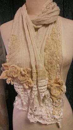 """Romantic hand stitched """"Sparkling Sands"""" shawl/scarf  perfect with jeans for a walk on the beach..or dancing at a wedding"""