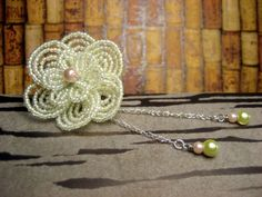 Cream Soda Drop - Brooch Pin or Hair Clip- French Beaded Flower Beads And Wire, Pearl Beads, Cream Soda, Flower Hair Accessories, Silver Dollar, Beaded Flowers, Flowers In Hair, Brooch Pin, Seed Beads