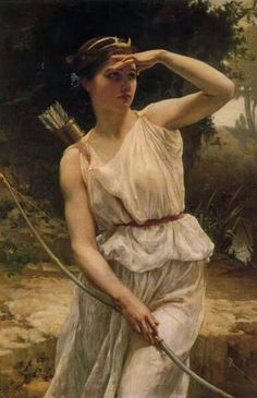 Artemis,goddess of the hunt and the moon. She is an eternal maiden.