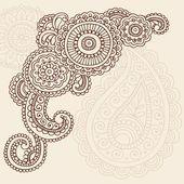 Henna Mehndi Pasiley Blumen Kritzeleien Vektor — Stockillustration #7897962
