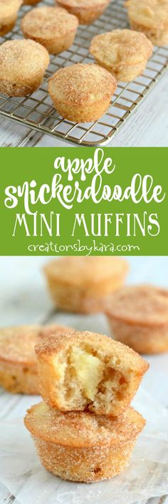 Mini Apple Snickerdoodle Muffins - loaded with chunks of apple and rolled in cinnamon sugar, these apple muffins are exceptional! via creationsbykara.com