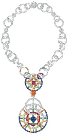 Café Society Necklace from CafeSociety - Chanel - FineJewelry collection in white gold set with a 10 cts CushionCut - Sapphire, an OctagonCut orange Garnet, a 3 cts C. Chanel Jewelry, Jewelery, Jewelry Necklaces, Fashion Jewelry, Chanel Couture, Bling Bling, Diamond Jewelry, Diamond Necklaces, Diamond Gemstone