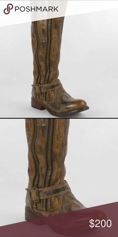 Bed Stu Tango Boot distressed leather style with zipper details. Barely worn—in great condition. Bed Stu Shoes Combat & Moto Boots